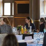 W4SG Team Member Sarah Nilsson Dolah speaking with guests.